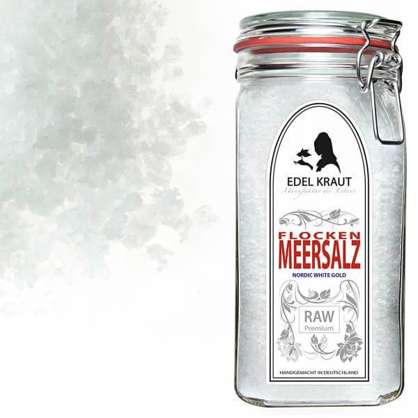Flockensalz im Premium Glas 750g   Meersalz Flocken   Sea Salt