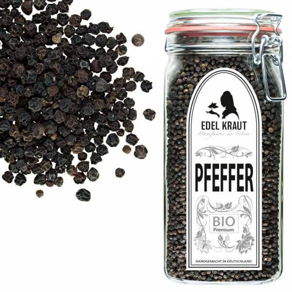 Schwarzer Bio Pfeffer im Glas EDEL KRAUT - organic black pepper